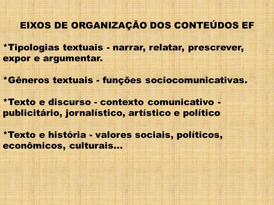 EIXOS DE ORGANIZAÇÃO DOS CONTEÚDOS EF