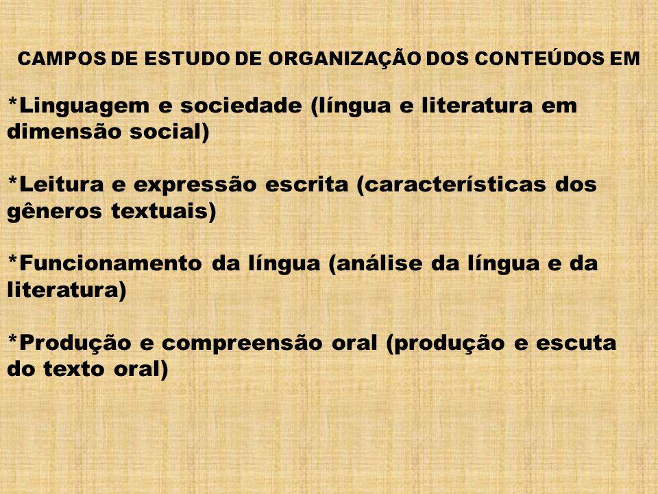 CAMPOS DE ESTUDO DE ORGANIZAÇÃO DOS CONTEÚDOS EM