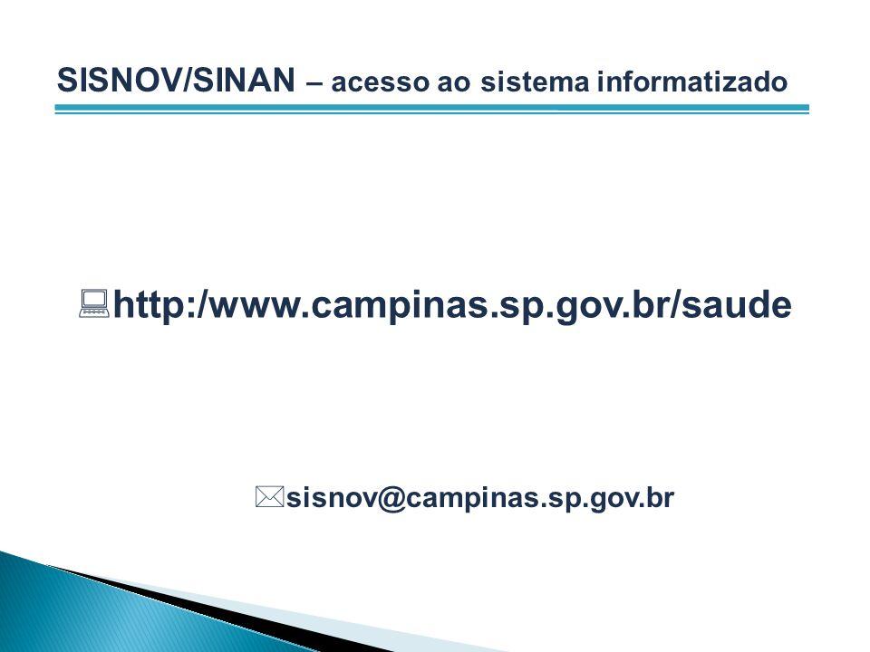 SISNOV/SINAN – acesso ao sistema informatizado