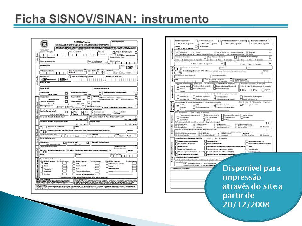 Ficha SISNOV/SINAN: instrumento