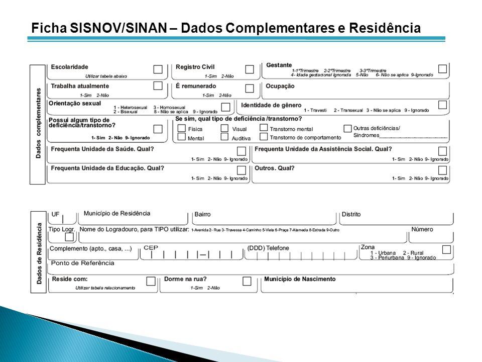 Ficha SISNOV/SINAN – Dados Complementares e Residência