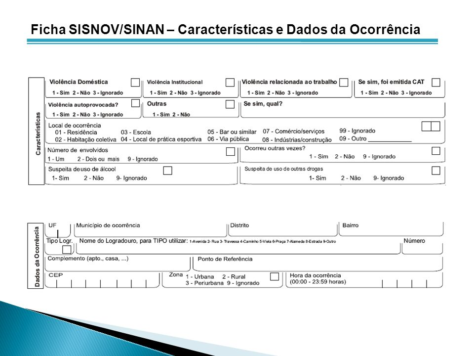 Ficha SISNOV/SINAN – Características e Dados da Ocorrência