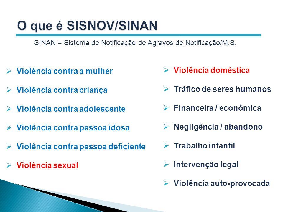 O que é SISNOV/SINAN Violência contra a mulher Violência doméstica