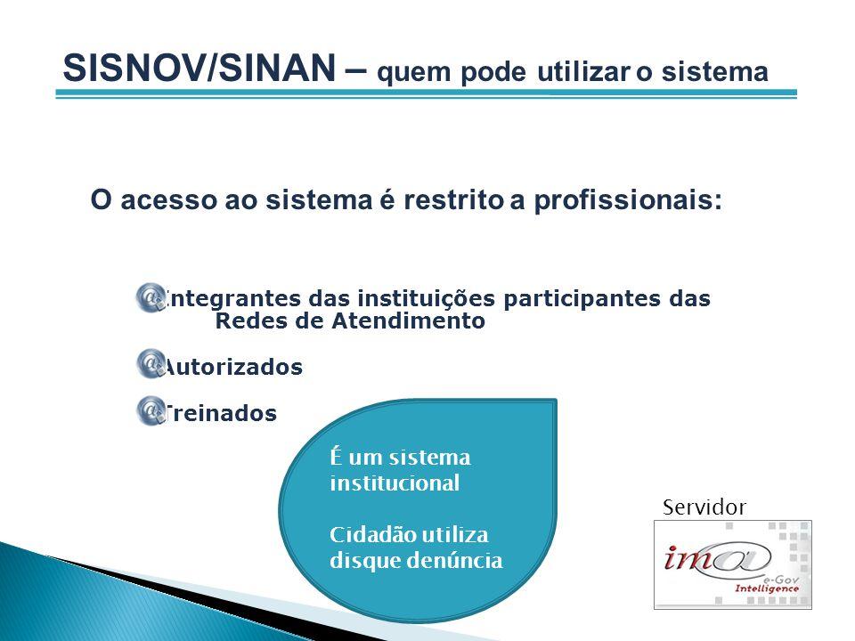 SISNOV/SINAN – quem pode utilizar o sistema
