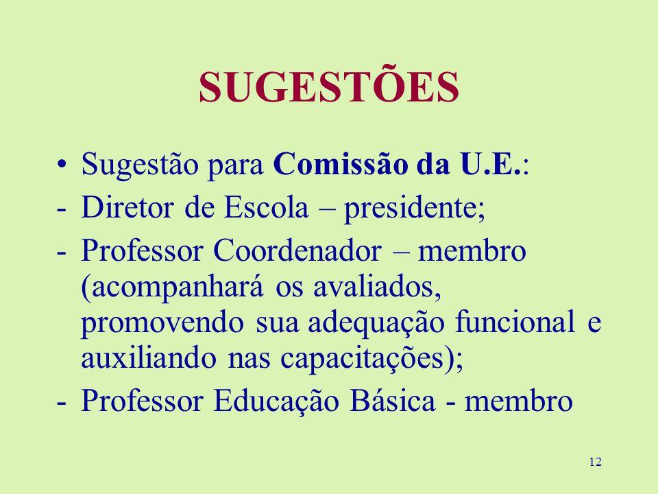 SUGESTÕES Sugestão para Comissão da U.E.: