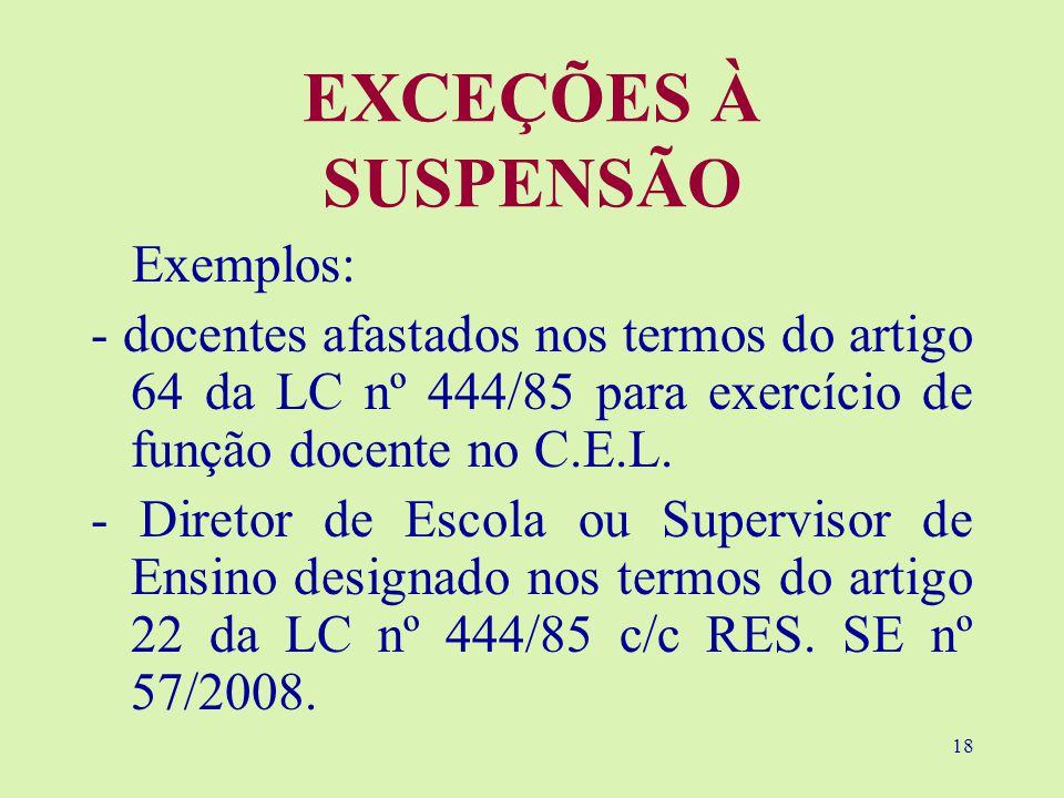 EXCEÇÕES À SUSPENSÃO Exemplos: - docentes afastados nos termos do artigo 64 da LC nº 444/85 para exercício de função docente no C.E.L.