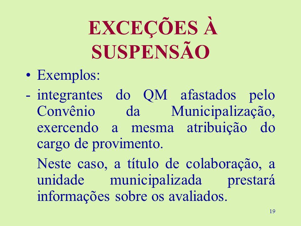 EXCEÇÕES À SUSPENSÃO Exemplos: