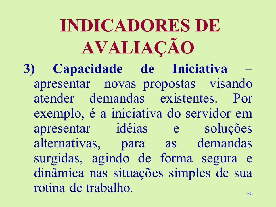 INDICADORES DE AVALIAÇÃO