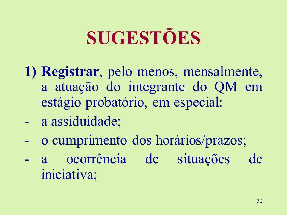 SUGESTÕES Registrar, pelo menos, mensalmente, a atuação do integrante do QM em estágio probatório, em especial: