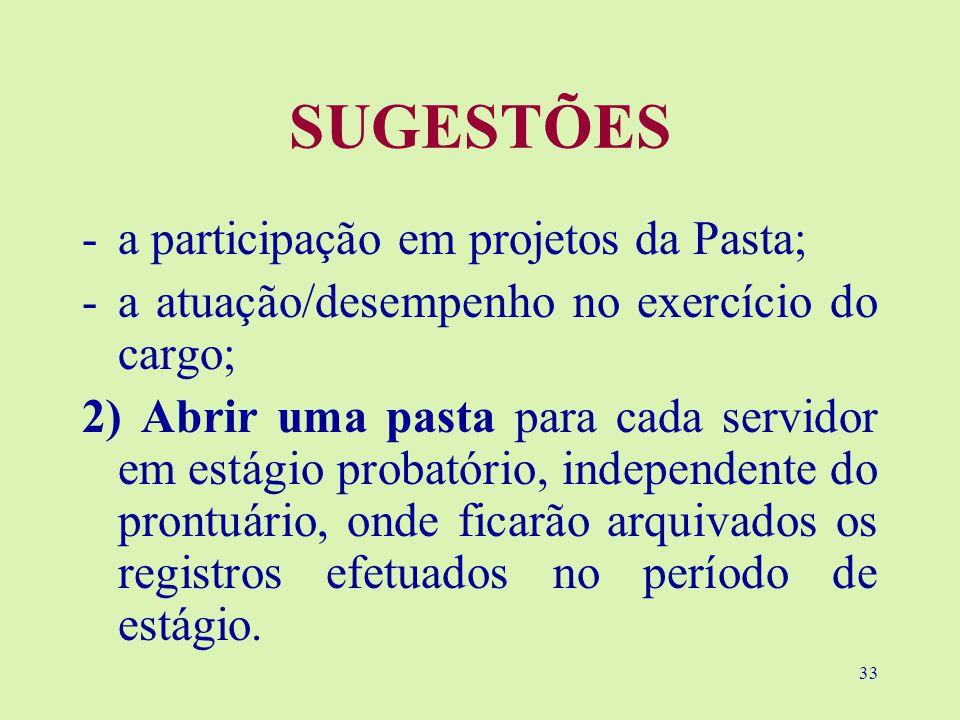 SUGESTÕES a participação em projetos da Pasta;