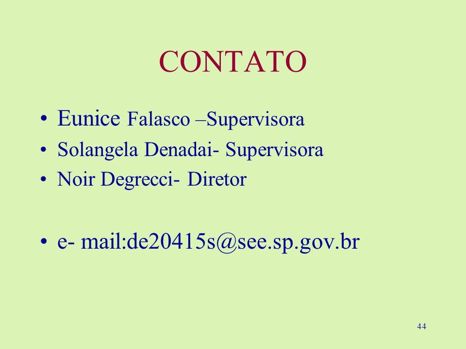 CONTATO Eunice Falasco –Supervisora e- mail:de20415s@see.sp.gov.br