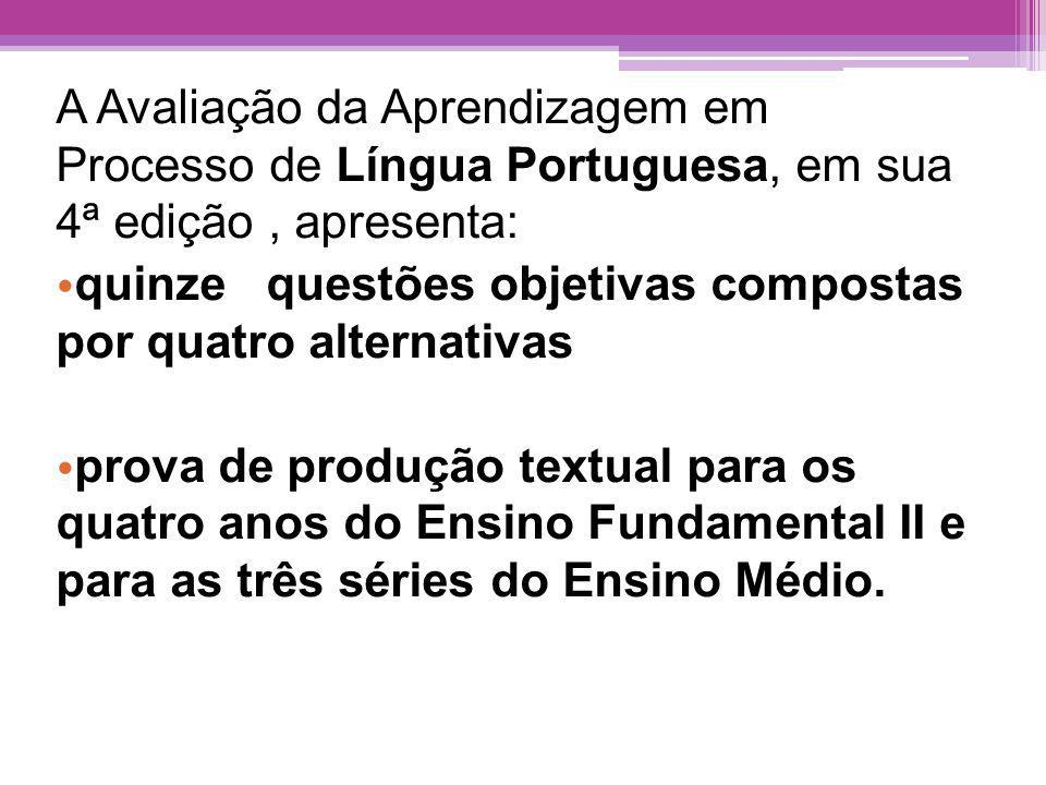 A Avaliação da Aprendizagem em Processo de Língua Portuguesa, em sua 4ª edição , apresenta: