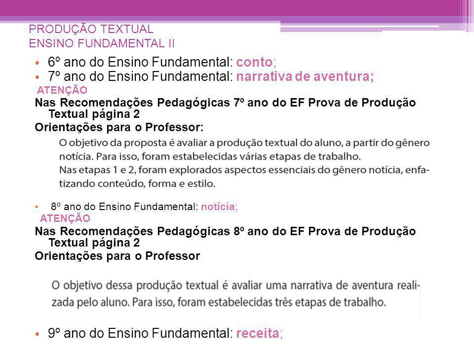 PRODUÇÃO TEXTUAL ENSINO FUNDAMENTAL II