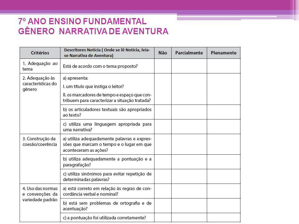 7º ANO ENSINO FUNDAMENTAL GÊNERO NARRATIVA DE AVENTURA