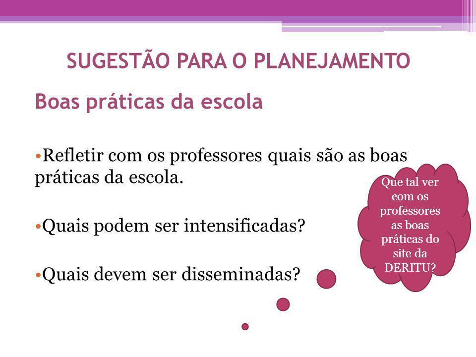 SUGESTÃO PARA O PLANEJAMENTO