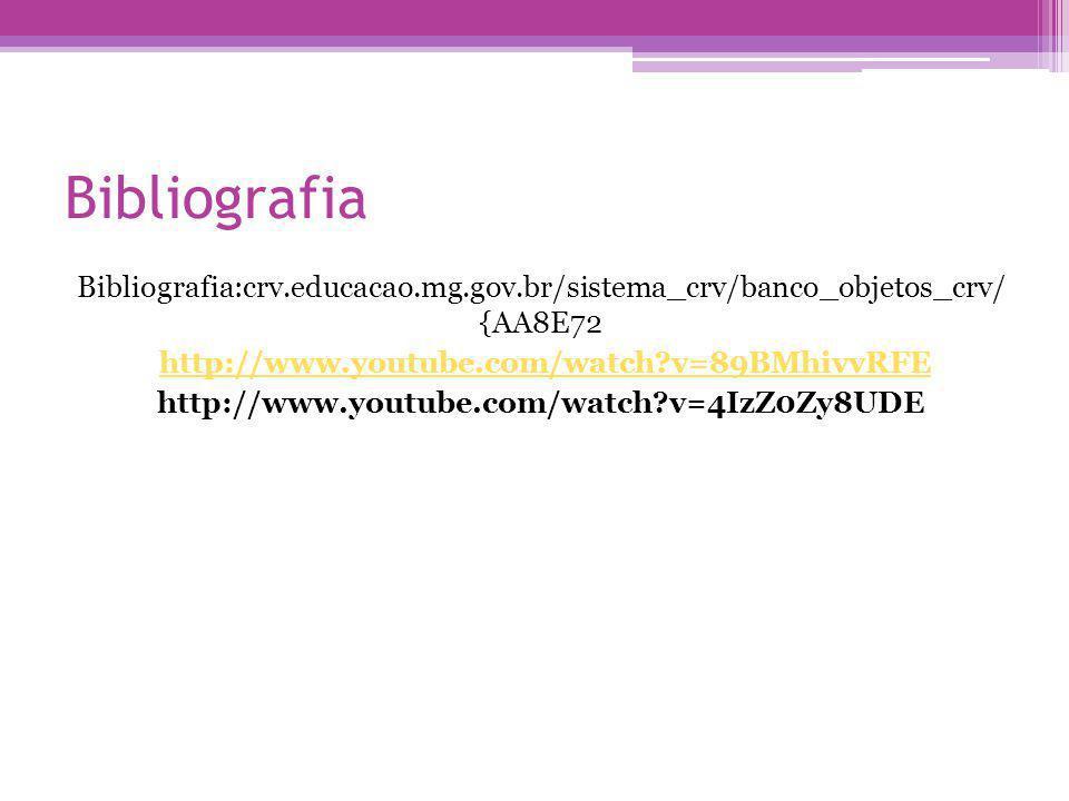 Bibliografia Bibliografia:crv.educacao.mg.gov.br/sistema_crv/banco_objetos_crv/ {AA8E72. http://www.youtube.com/watch v=89BMhivvRFE.