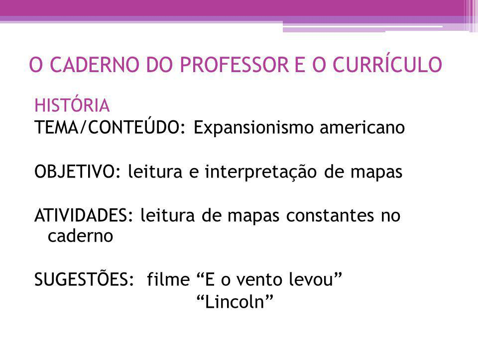 O CADERNO DO PROFESSOR E O CURRÍCULO