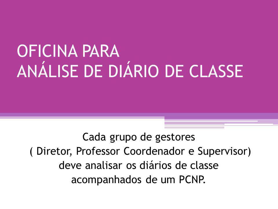 OFICINA PARA ANÁLISE DE DIÁRIO DE CLASSE