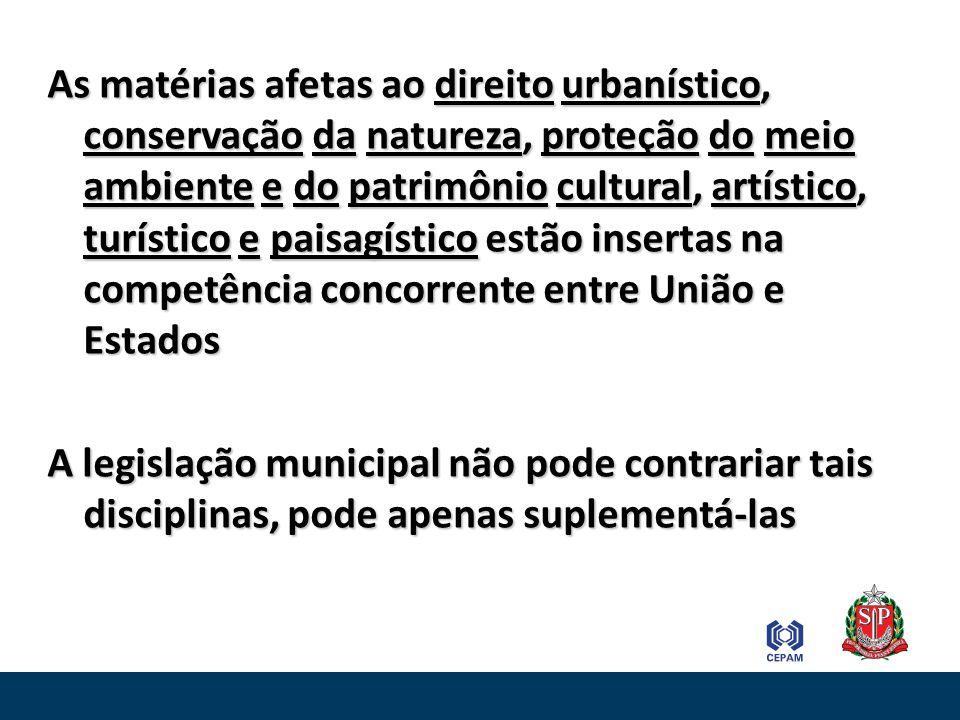 As matérias afetas ao direito urbanístico, conservação da natureza, proteção do meio ambiente e do patrimônio cultural, artístico, turístico e paisagístico estão insertas na competência concorrente entre União e Estados