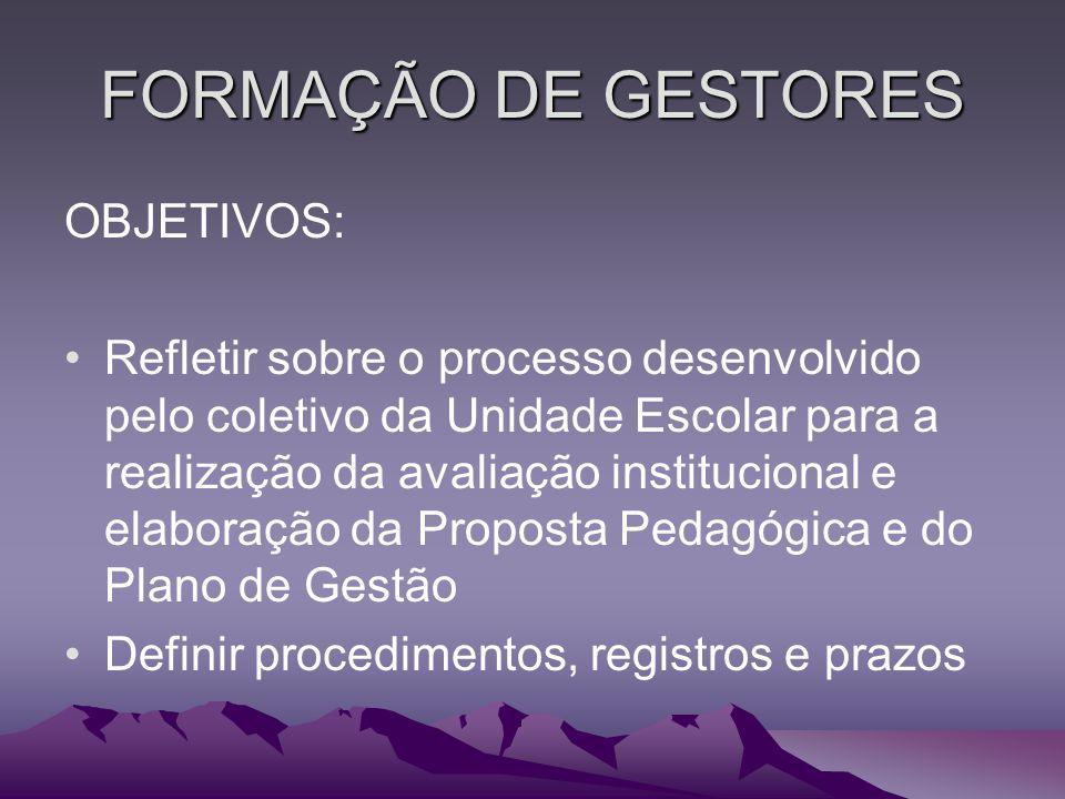 FORMAÇÃO DE GESTORES OBJETIVOS: