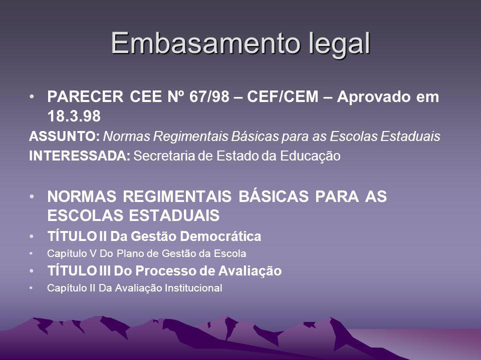Embasamento legal PARECER CEE Nº 67/98 – CEF/CEM – Aprovado em 18.3.98
