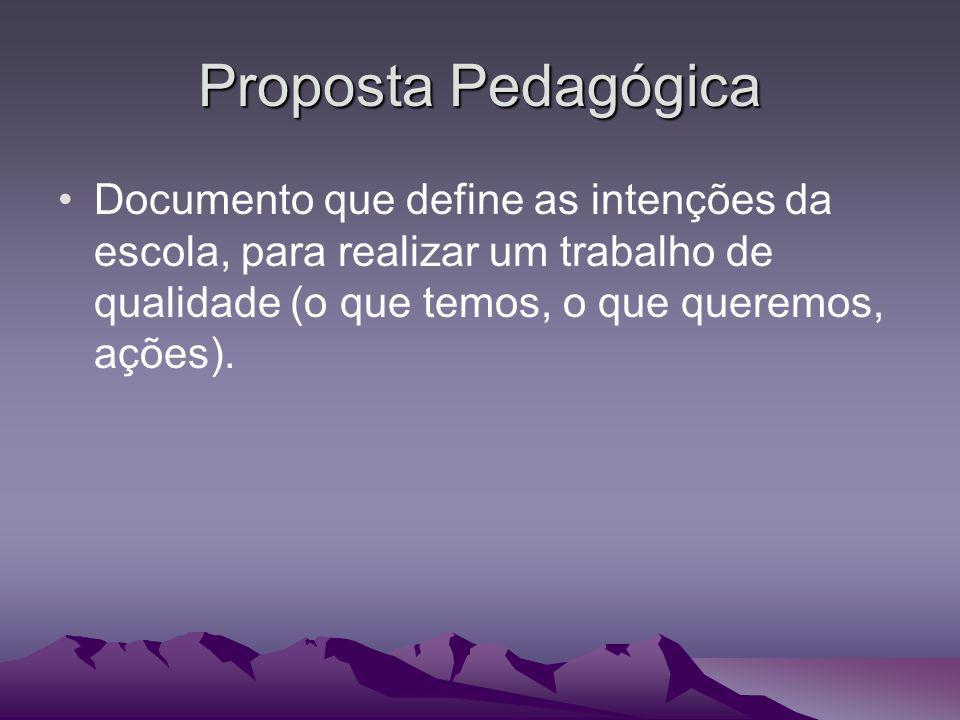 Proposta Pedagógica Documento que define as intenções da escola, para realizar um trabalho de qualidade (o que temos, o que queremos, ações).
