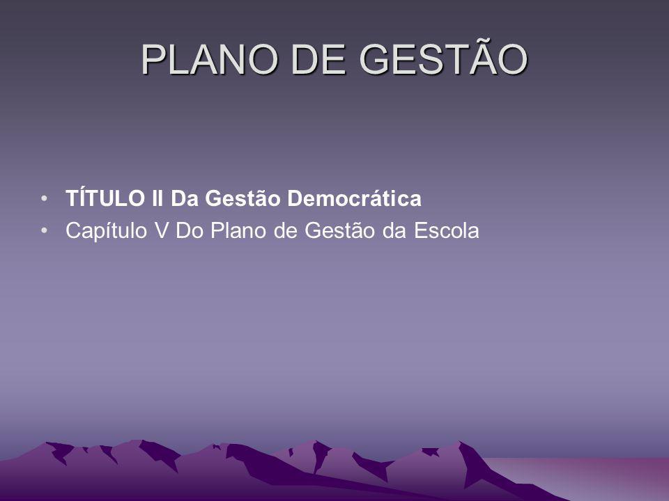 PLANO DE GESTÃO TÍTULO II Da Gestão Democrática