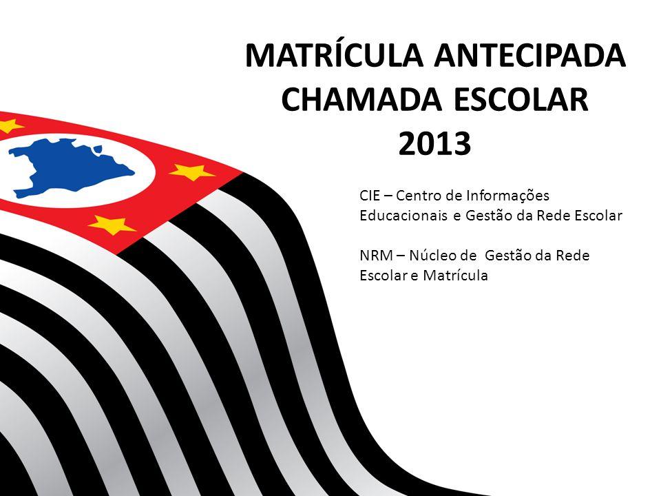 MATRÍCULA ANTECIPADA CHAMADA ESCOLAR 2013