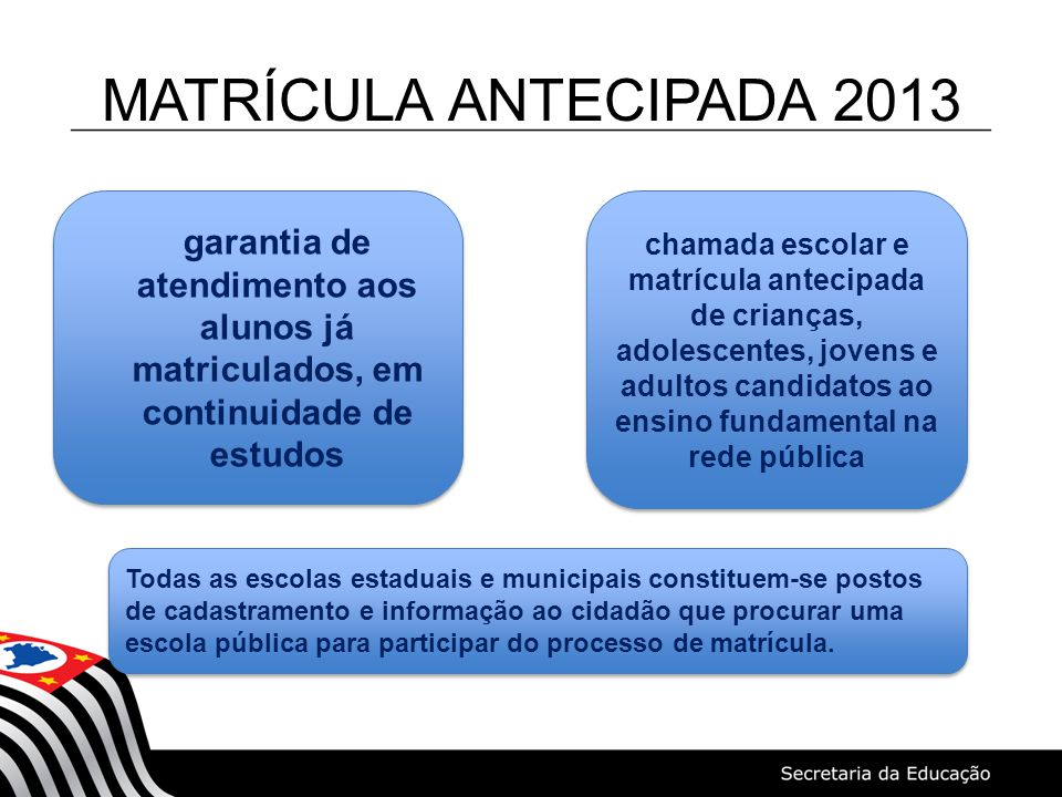 MATRÍCULA ANTECIPADA 2013 garantia de atendimento aos alunos já matriculados, em continuidade de estudos.