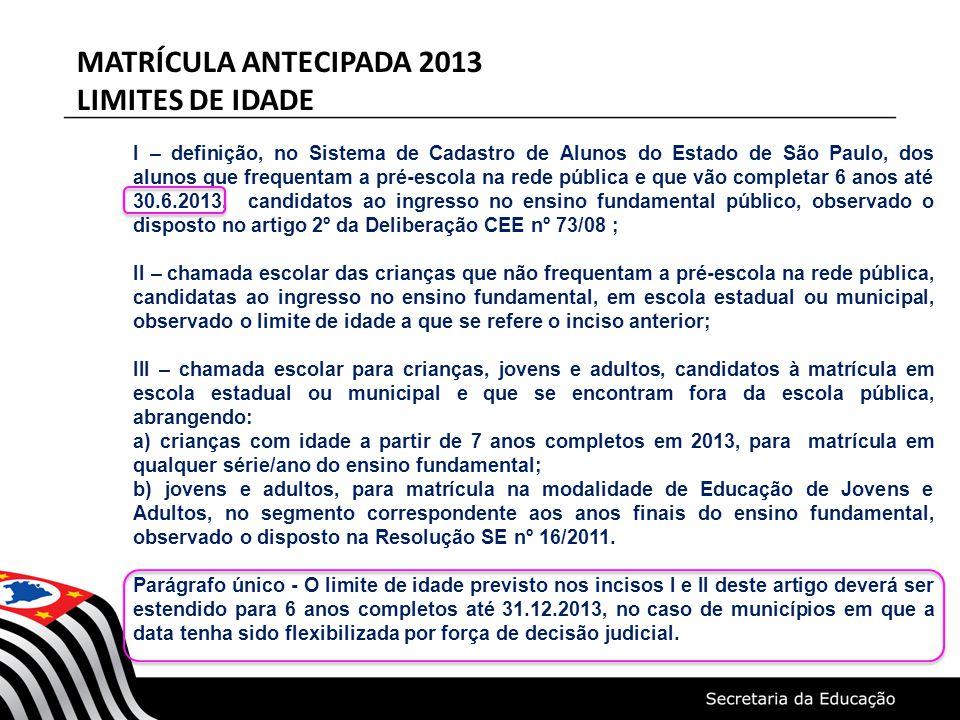 MATRÍCULA ANTECIPADA 2013 LIMITES DE IDADE