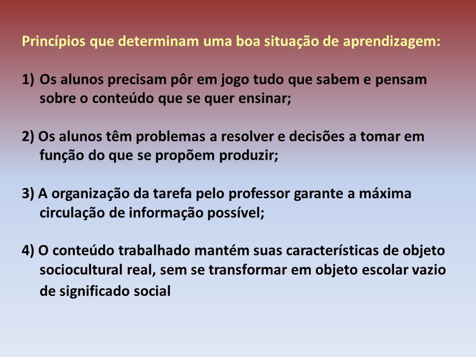 Princípios que determinam uma boa situação de aprendizagem: