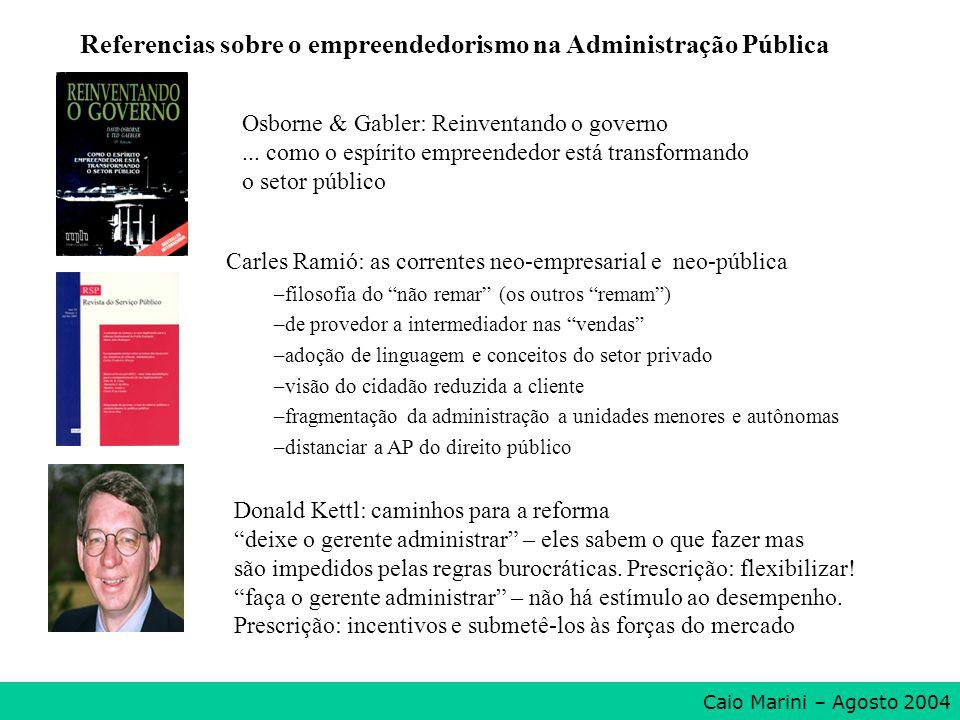 Referencias sobre o empreendedorismo na Administração Pública