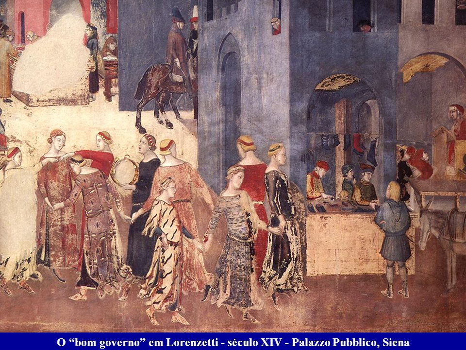 O bom governo em Lorenzetti - século XIV - Palazzo Pubblico, Siena