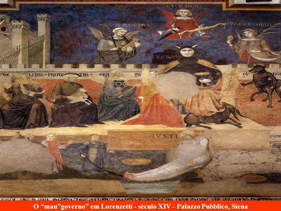 O mau governo em Lorenzetti - século XIV - Palazzo Pubblico, Siena