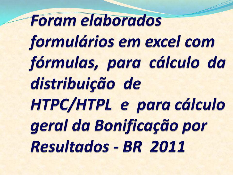 Foram elaborados formulários em excel com fórmulas, para cálculo da distribuição de HTPC/HTPL e para cálculo geral da Bonificação por Resultados - BR 2011