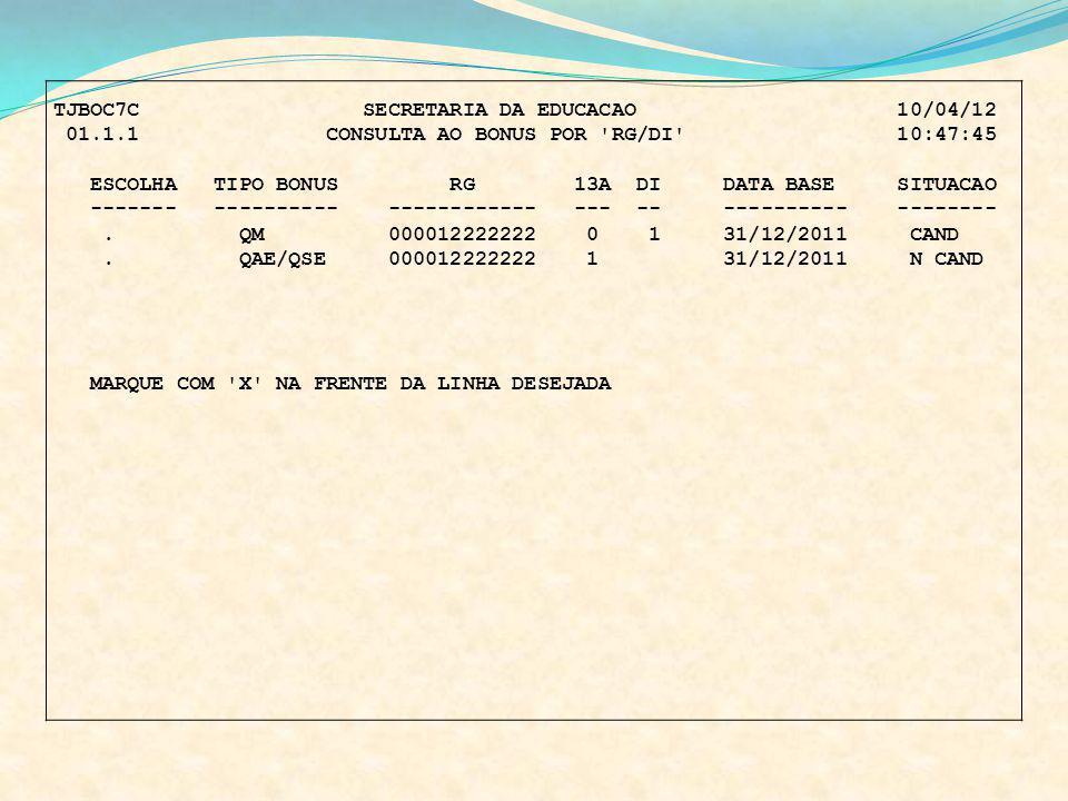 TJBOC7C SECRETARIA DA EDUCACAO 10/04/12