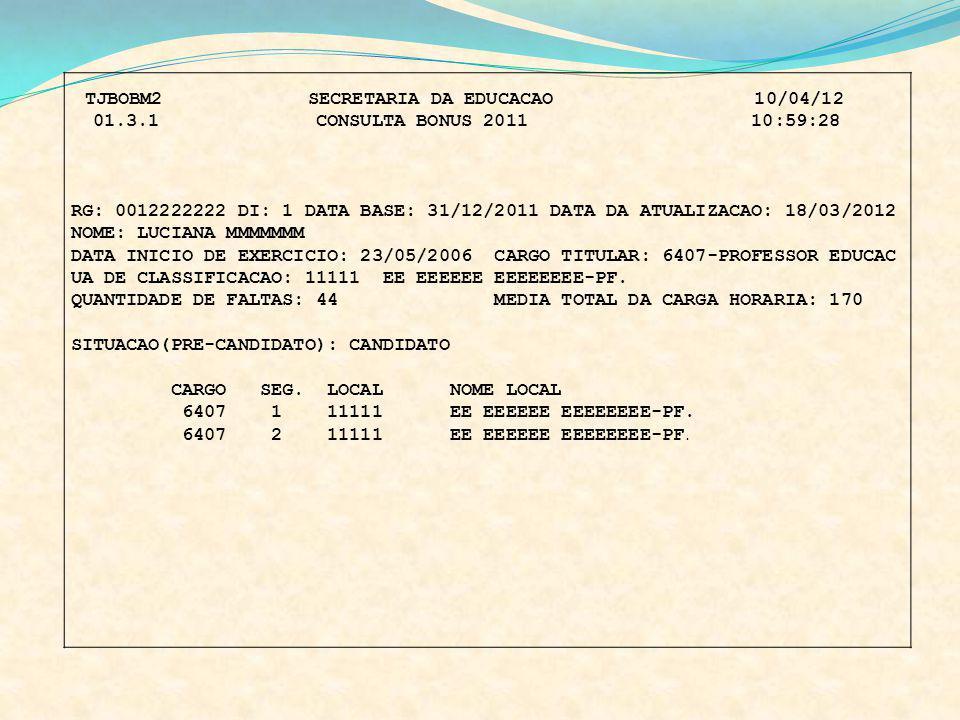 UA DE CLASSIFICACAO: 11111 EE EEEEEE EEEEEEEE-PF.