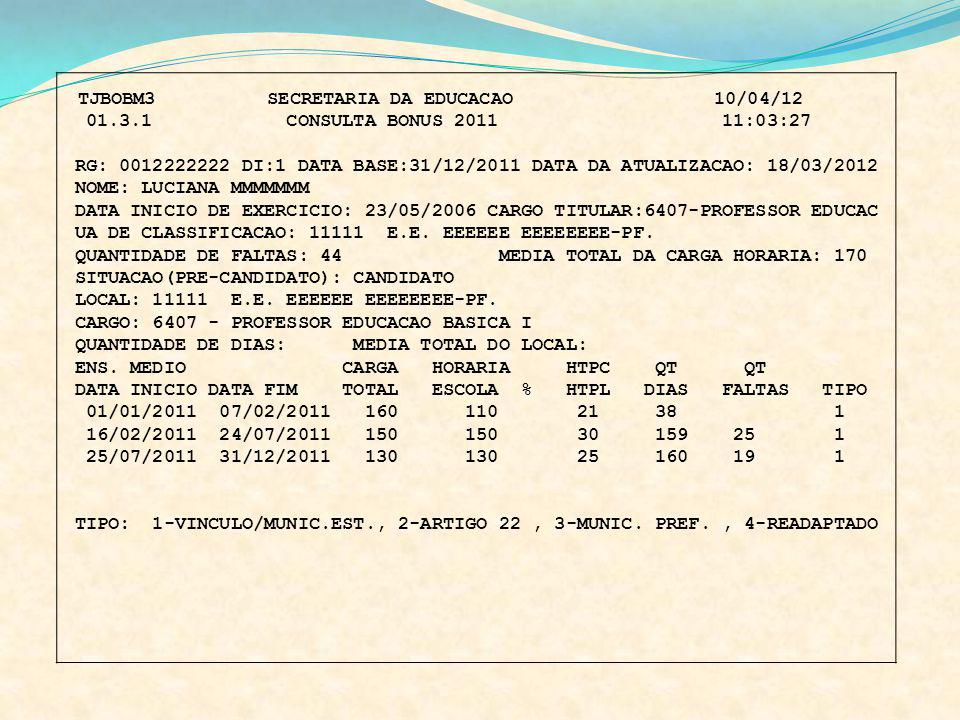 UA DE CLASSIFICACAO: 11111 E.E. EEEEEE EEEEEEEE-PF.