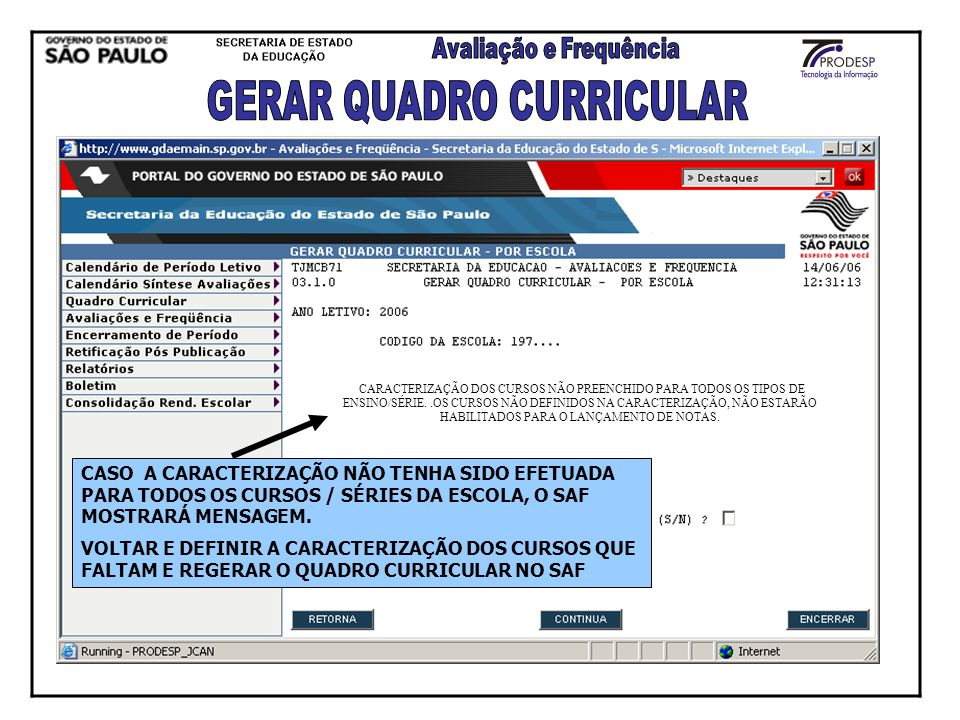 GERAR QUADRO CURRICULAR