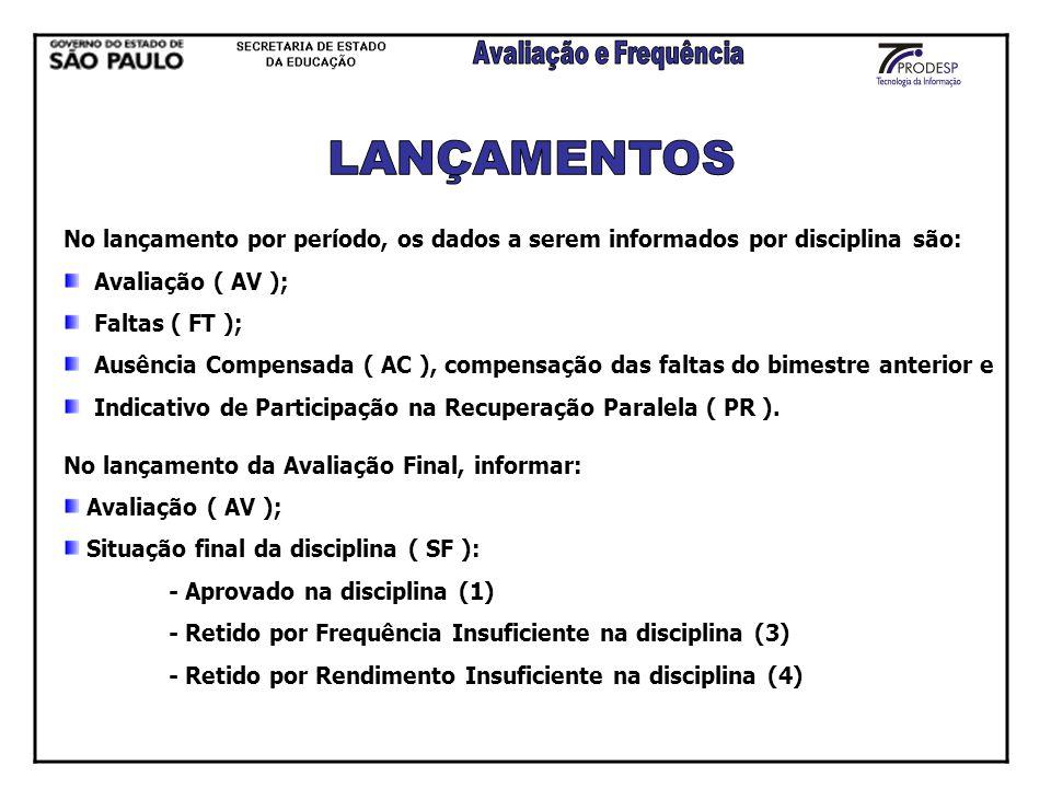 LANÇAMENTOS No lançamento por período, os dados a serem informados por disciplina são: Avaliação ( AV );