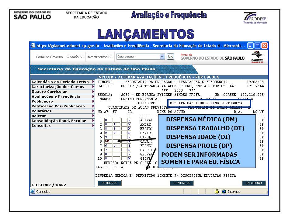 LANÇAMENTOS DISPENSA MÉDICA (DM) DISPENSA TRABALHO (DT)