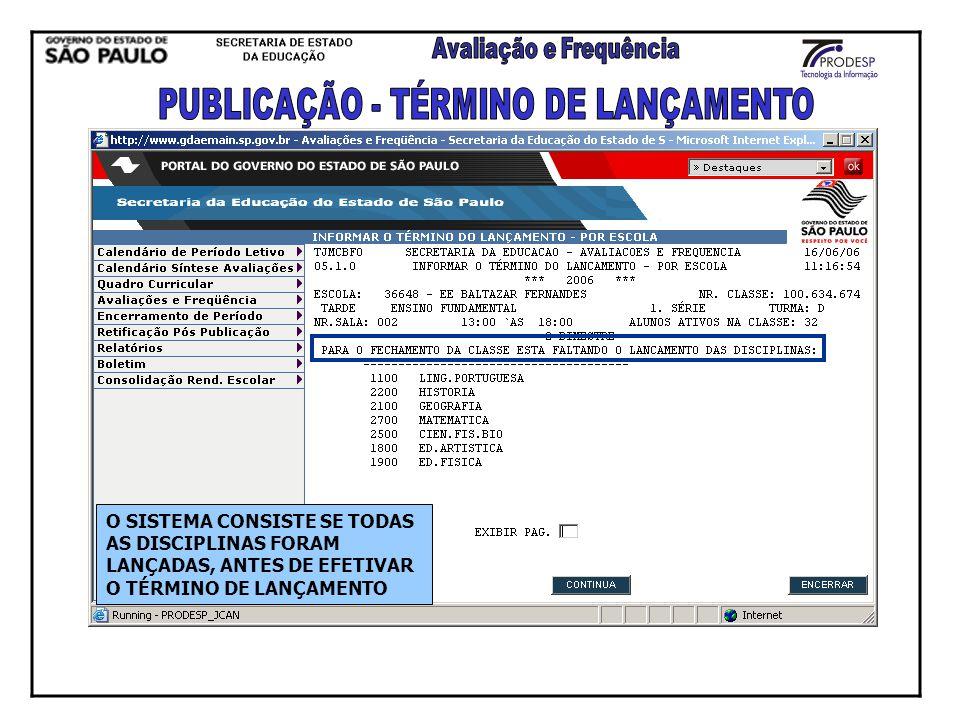 PUBLICAÇÃO - TÉRMINO DE LANÇAMENTO