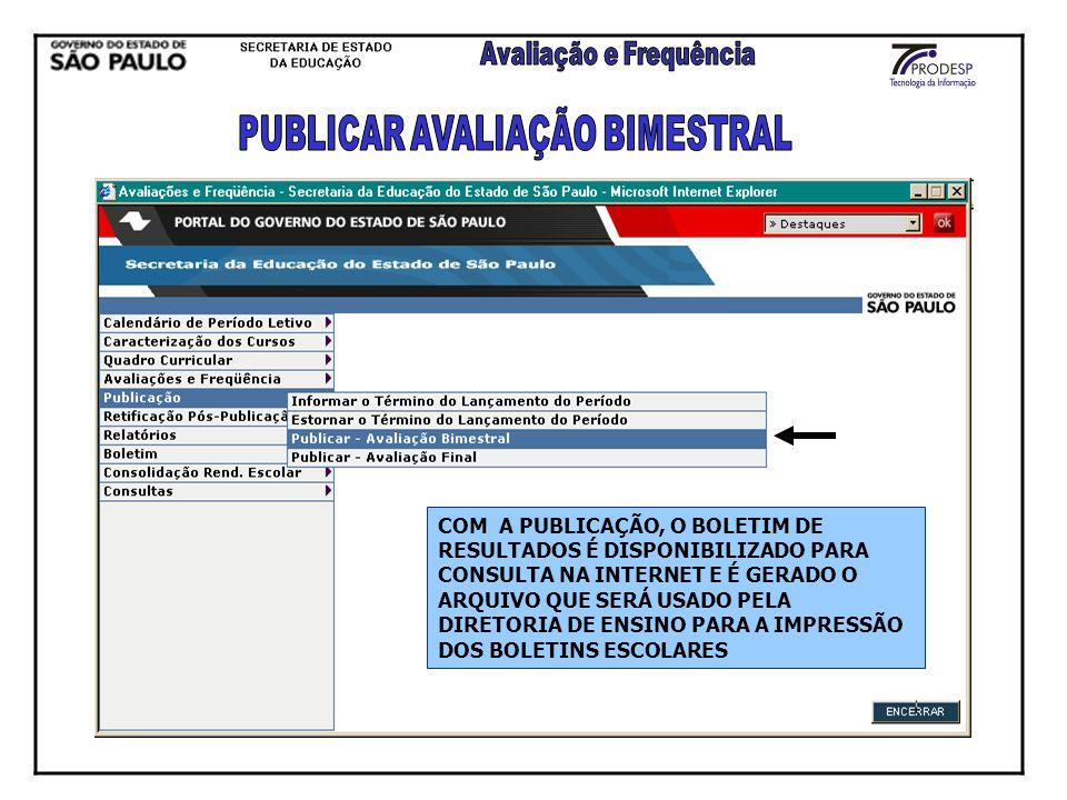PUBLICAR AVALIAÇÃO BIMESTRAL
