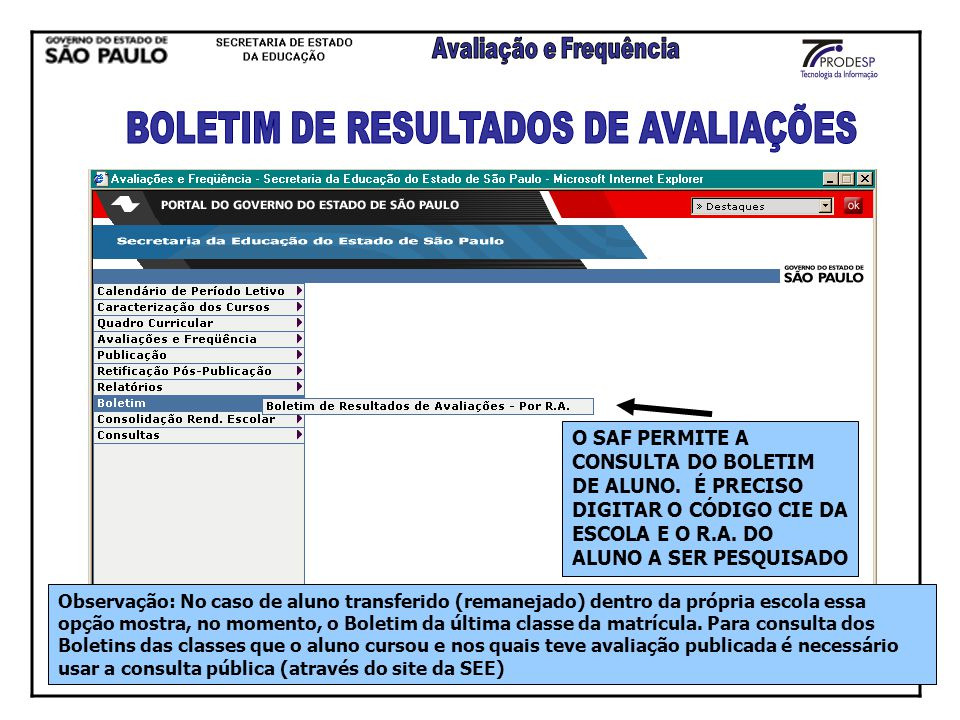 BOLETIM DE RESULTADOS DE AVALIAÇÕES