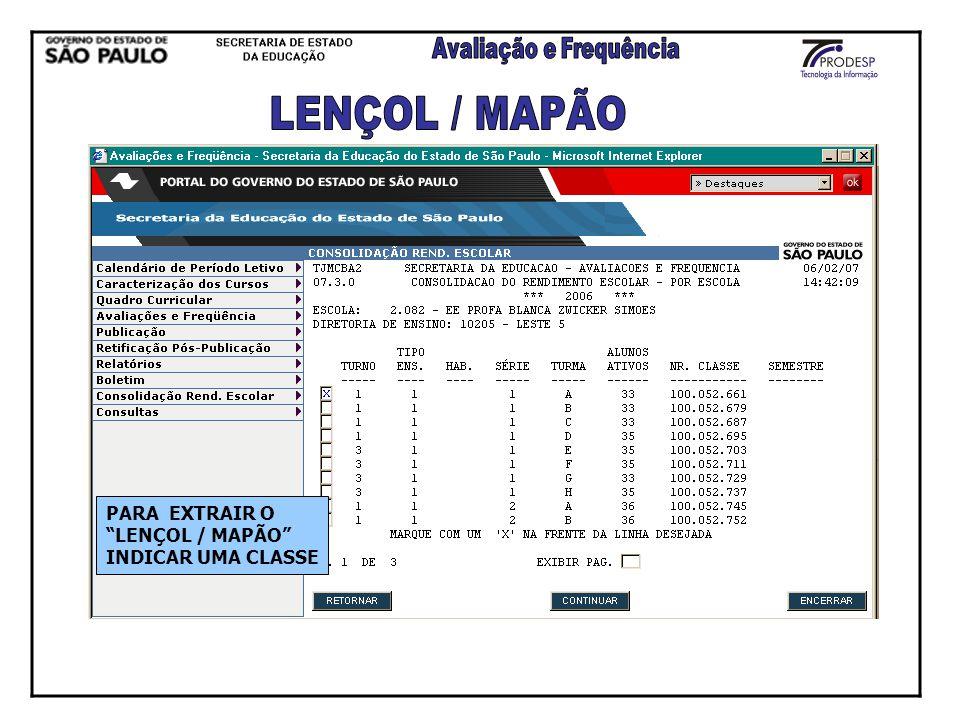LENÇOL / MAPÃO PARA EXTRAIR O LENÇOL / MAPÃO INDICAR UMA CLASSE