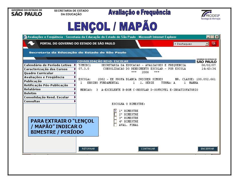 LENÇOL / MAPÃO PARA EXTRAIR O LENÇOL / MAPÃO INDICAR O BIMESTRE / PERÍODO