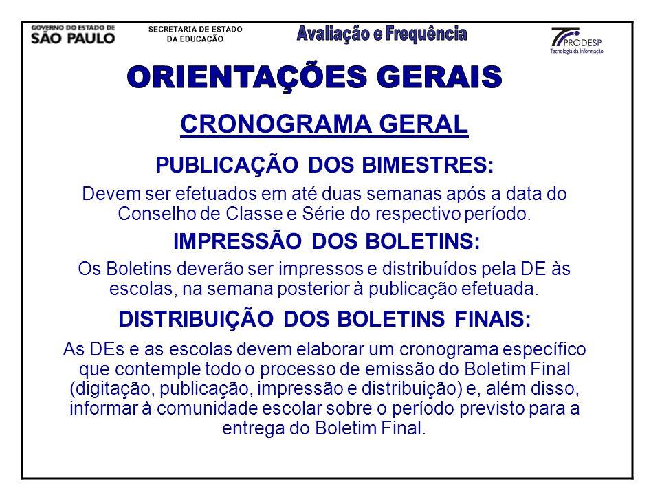 ORIENTAÇÕES GERAIS CRONOGRAMA GERAL PUBLICAÇÃO DOS BIMESTRES: