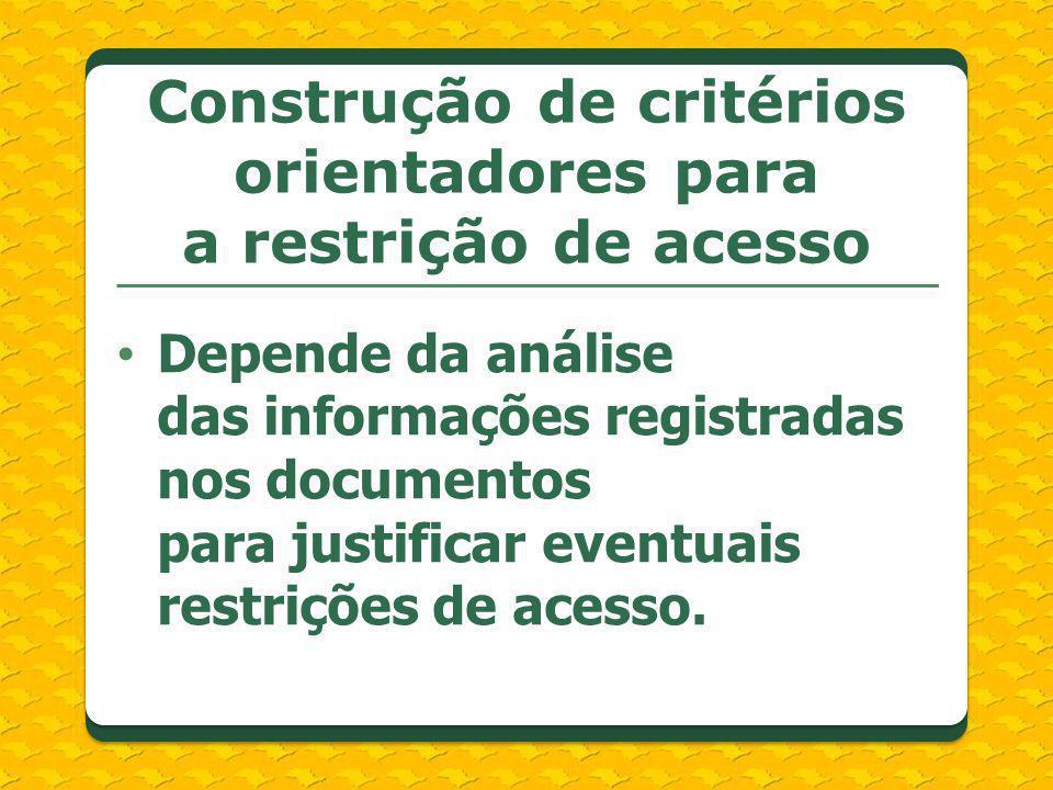 Construção de critérios orientadores para a restrição de acesso
