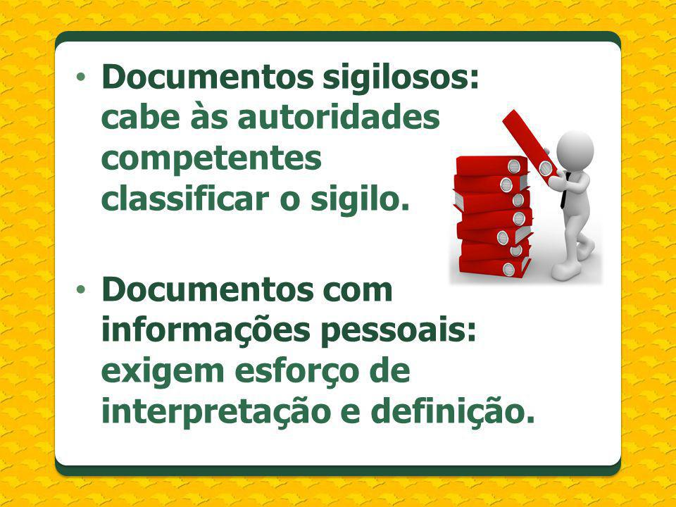 Documentos sigilosos: cabe às autoridades competentes classificar o sigilo.