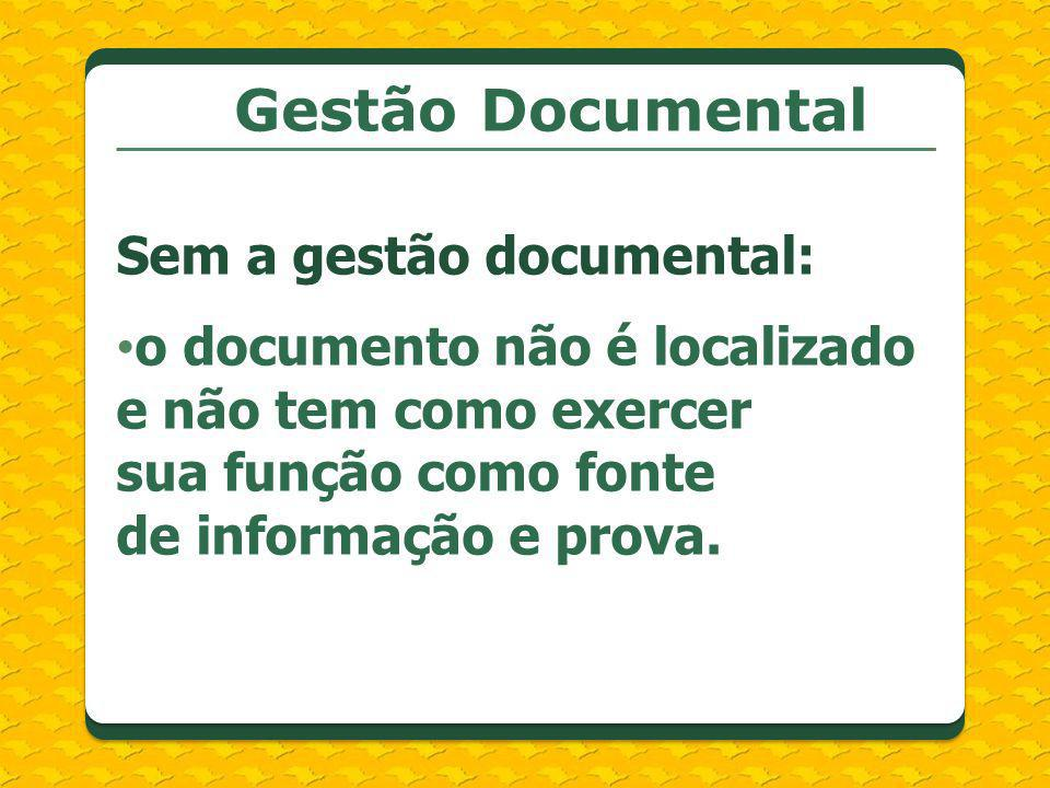 Gestão Documental Sem a gestão documental: